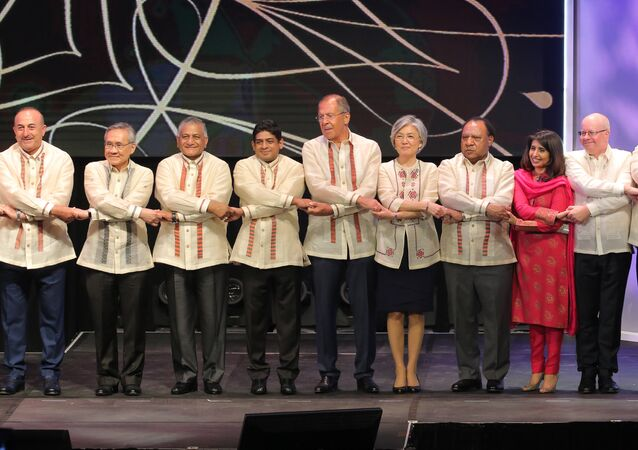 Russian Foreign Minister Sergei Lavrov during a joint photo-op with foreign ministers of ASEAN member states before the official gala dinner on the sidelines of the ASEAN regional security summit in Malina, Philippines