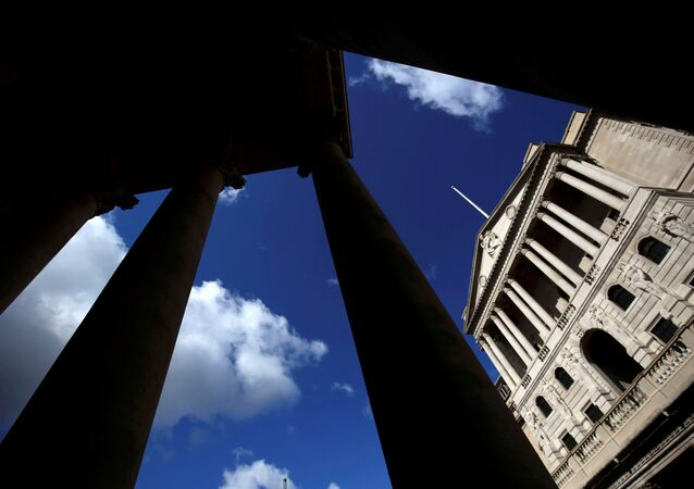 The Bank of England is seen through the columns on the Royal Exchange building in London, Britain August 4, 2016