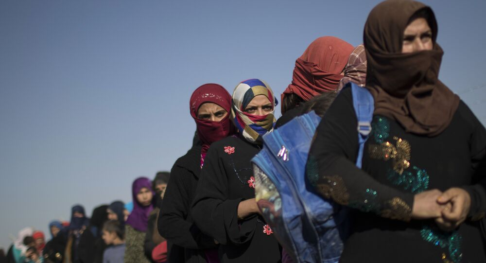 Women displaced from Mosul, Iraq at a refugee camp