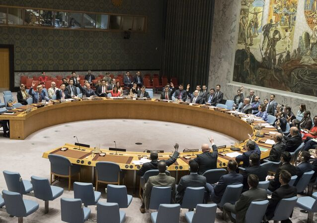 The United Nations Security Council votes on a new sanctions resolution that would increase economic pressure on North Korea to return to negotiations on its missile program, Saturday, Aug. 5, 2017 at U.N. headquarters