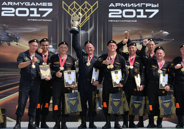 Russian service persons, winners in the international contest Masters of the Autoarmoured Equipment, a part of the International Army Games 2017 held in Ostrogozhsk, Voronezh Region
