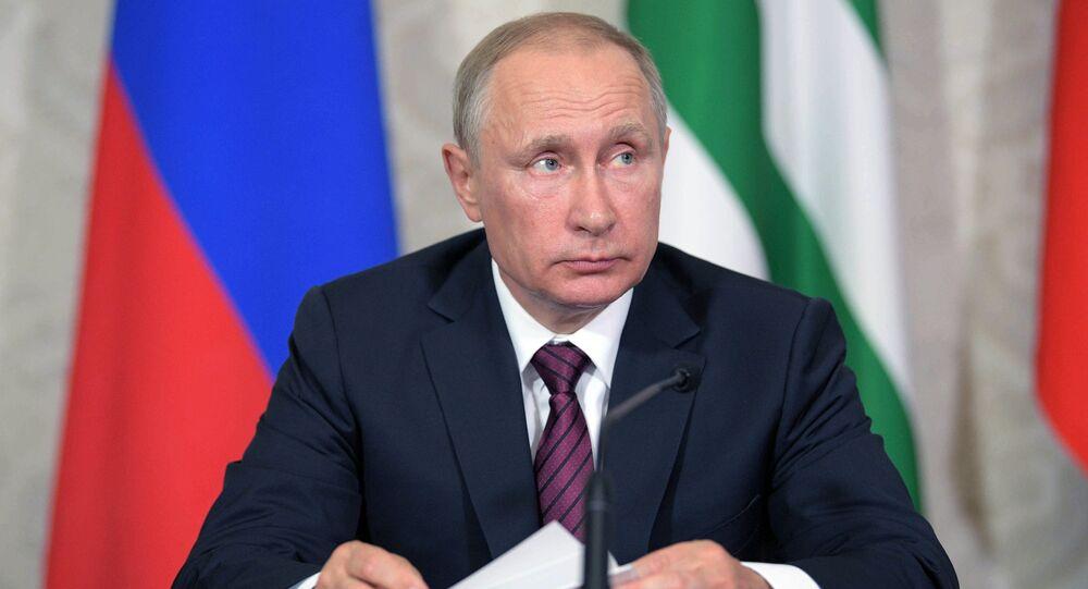 President Vladimir Putin during a news conference following talks with President of Abkhazia Raul Khadjimba, August 8, 2017.