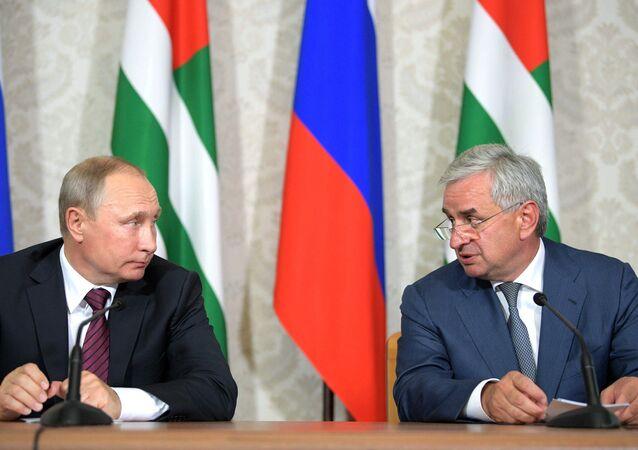 President Vladimir Putin and President of Abkhazia Raul Khadjimba, right, during a news conference following talks, August 8, 2017.