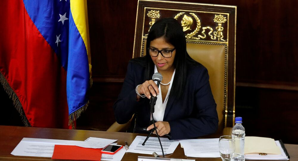 National Constituent Assembly President Delcy Rodriguez attends to one of its session in Caracas, Venezuela August 8, 2017