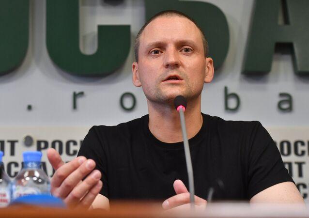 Sergei Udaltsov gives news conference