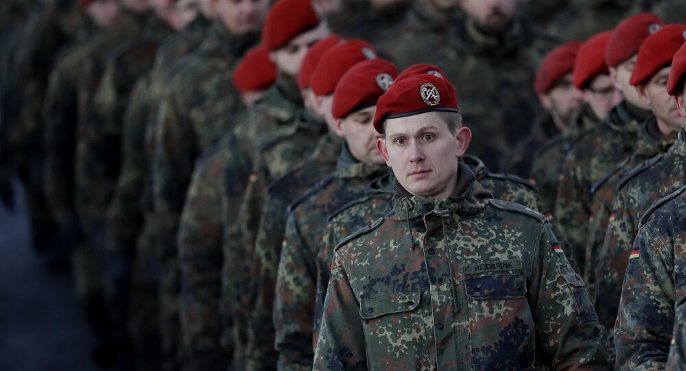 German Bundeswehr soldiers of the 122th Infantry Battalion take part in a farewell ceremony in Oberviechtach, Germany, Thursday, Jan. 19, 2017.