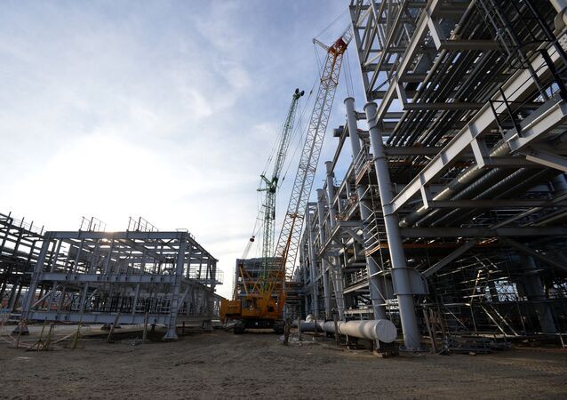 Natural gas liquefaction plant under construction in Yamal