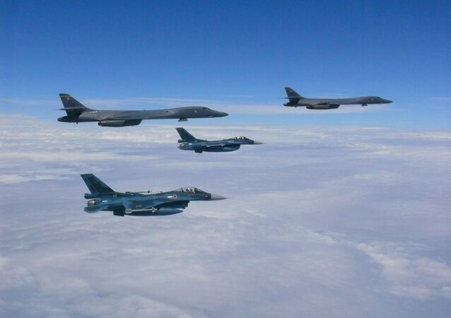 Two U.S. Air Force B-1B Lancers assigned to the 37th Expeditionary Bomb Squadron, deployed from Ellsworth Air Force Base, South Dakota, flew from Andersen Air Force Base, Guam, for a 10-hour mission, flying in the vicinity of Kyushu, Japan, the East China Sea, and the Korean peninsula, Aug. 7, 2017 (HST). During the mission, the B-1s were joined by Japan Air Self-Defense Force F-15s as well as Republic of Korea Air Force KF-16 fighter jets, performing two sequential bilateral missions. These flights with Japan and the Republic of Korea (ROK) demonstrate solidarity between Japan, ROK and the U.S. to defend against provocative and destabilizing actions in the Pacific theater.