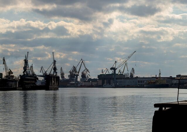A view on the Admiralty Shipyards joint stock company (left) and the Baltic plant from the Lieutenant Schmidt embankment in St. Petersburg. (File)