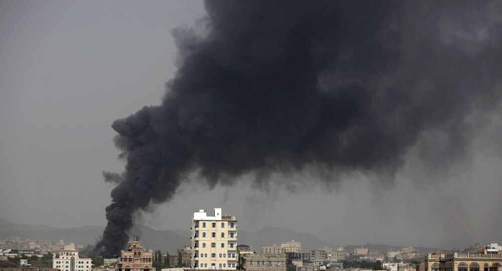 Smoke rises after Saudi-led airstrikes hit a food factory in Sanaa, Yemen. (File)