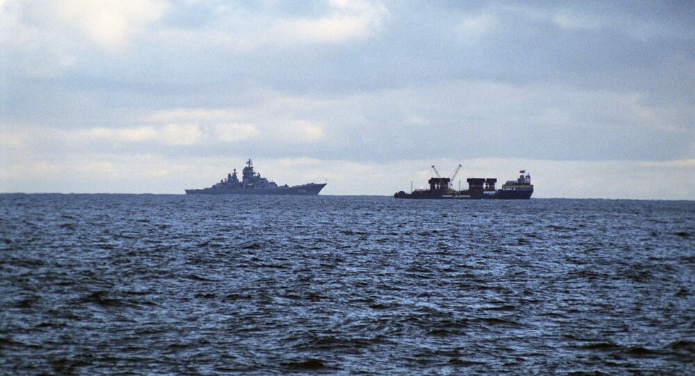 Barents Sea. Kursk nuclear submarine raising zone. Russian Northern Fleet. (File)