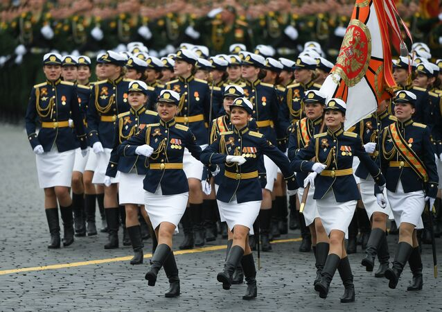 Female cadets at the military parade marking the 72nd anniversary of Victory in the 1941-45 Great Patriotic War