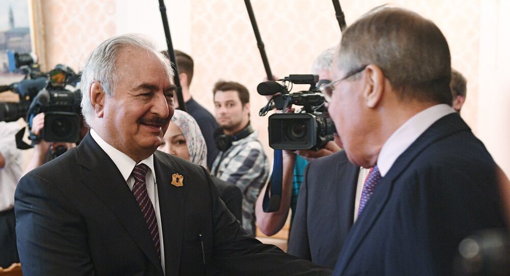Russian Foreign Minister Sergei Lavrov and Libyan National Army Commander Khalifa Haftar during a meeting