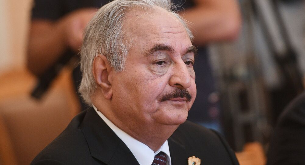 Libyan National Army Commander Khalifa Haftar during a meeting with Russian Foreign Minister Sergei Lavrov