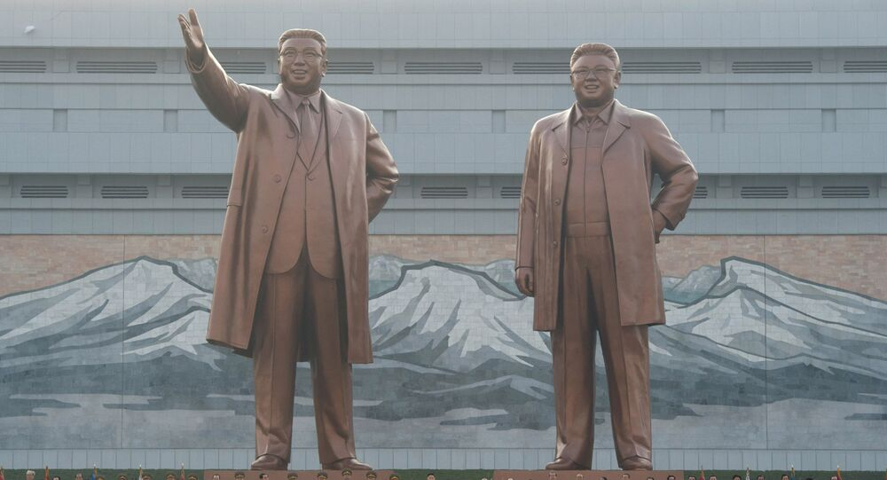 Unveiling monuments to Kim Il-sung and Kim Jong-il in Pyongyang. (File)