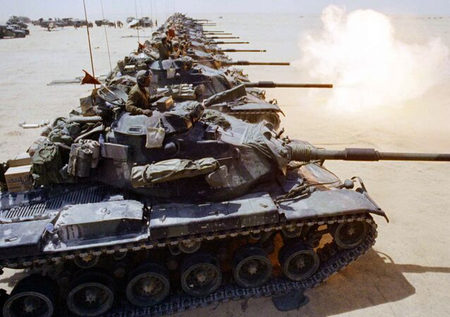 After weeks of waiting, a column of US Marine Corps M-60 tanks began firing live ammunition in the Saudi desert on Friday, September 14, 1990 in Saudi Arabia.