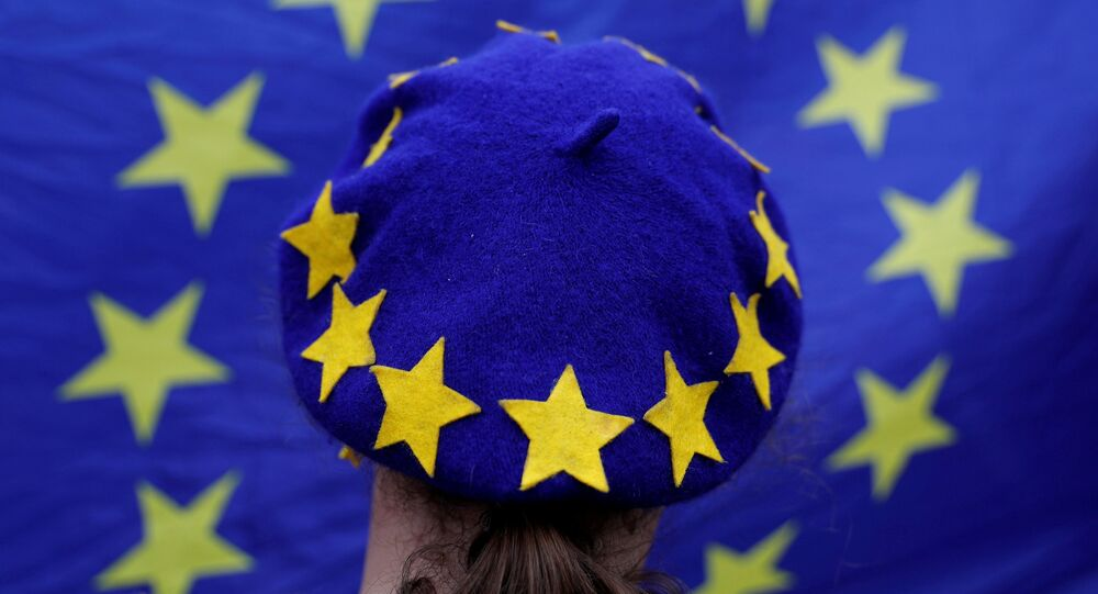 A protester wearing a Europen Union flag themed beret takes part in an anti-Brexit demonstration after Britain's Prime Minister Theresa May triggered the process by which the United Kingdom will leave the Euopean Union, in Birmingham, Britain March 29, 2017.