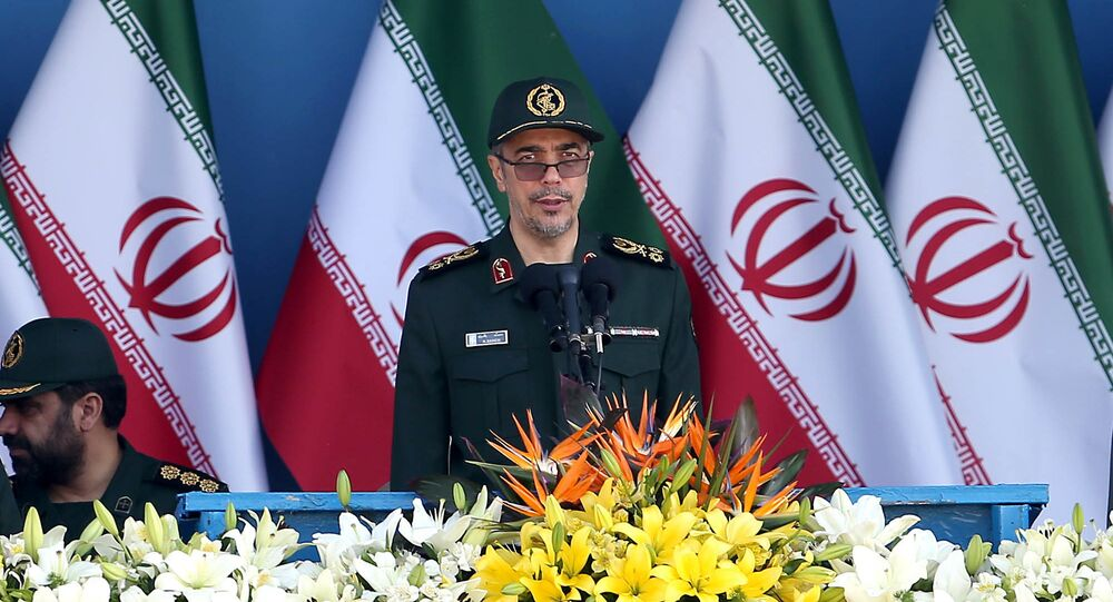 Chief of the General Staff of Iran's Armed Forces, General Mohammad Hossein Bagheri delivers a speech during a military parade marking the 36th anniversary of Iraq's 1980 invasion of Iran, in front of the shrine of late revolutionary founder Ayatollah Khomeini, just outside Tehran, Iran, Wednesday, 21 September 2016.