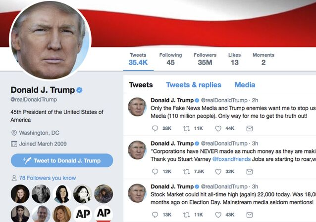 This frame grab shows part of the Twitter page of US President Donald Trump