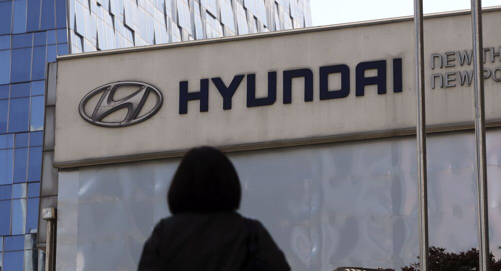 The logo of Hyundai Motor Co. is displayed at the automaker's showroom in Seoul, South Korea, Wednesday, April 26, 2017