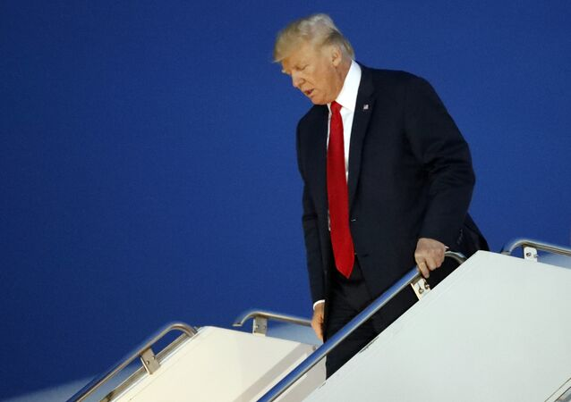 President Donald Trump walks from Air Force One at JFK International Airport in New York, Monday, Aug. 14, 2017. Trump is returning to his midtown Manhattan apartment for first time since taking office.
