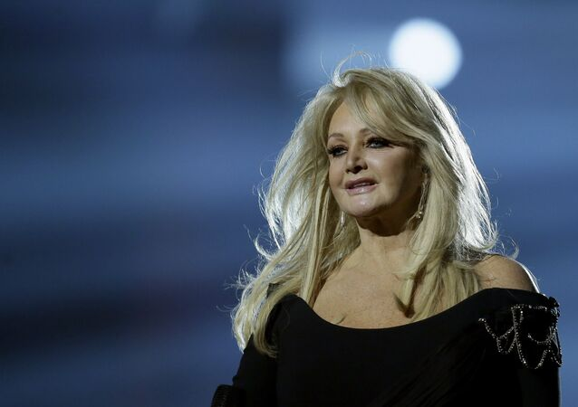 Bonnie Tyler of Britain performs her song Believe in Me during a rehearsal for the final of the Eurovision Song Contest