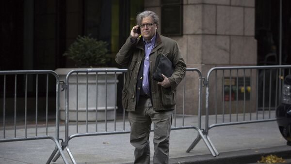 Steve Bannon, senior advisor to President-elect Donald Trump, makes a call outside Trump Tower on Friday, Dec. 9, 2016, in New York (File photo) - Sputnik International