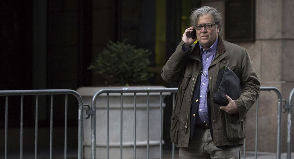 Steve Bannon, senior advisor to President-elect Donald Trump, makes a call outside Trump Tower on Friday, Dec. 9, 2016, in New York (File photo)