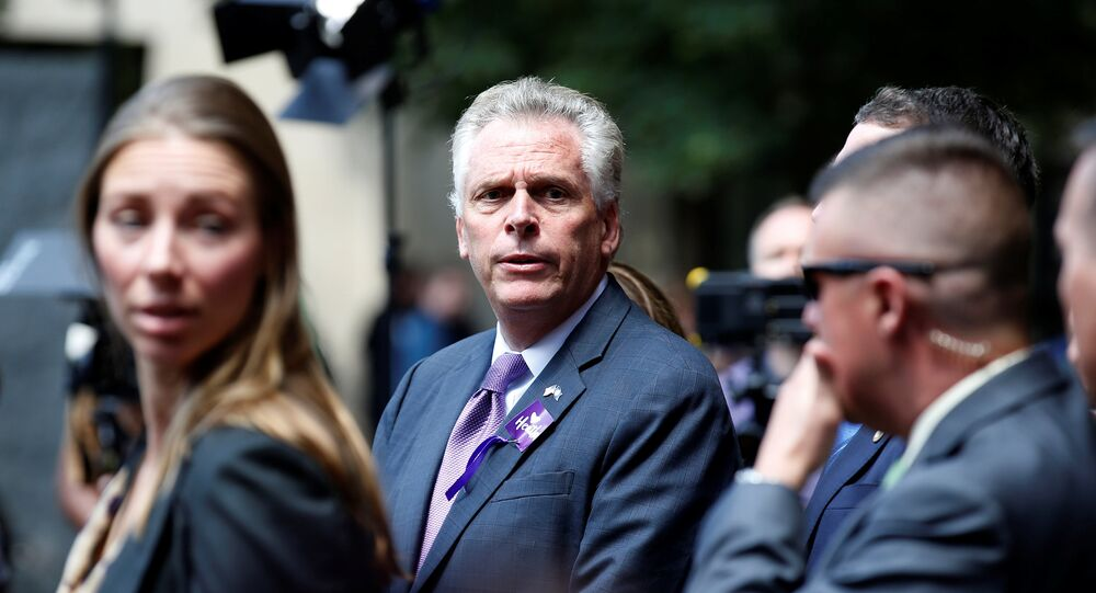Virginia Governor Terry McAuliffe waits to make a statement after the memorial service for Heather Heyer, who was killed when a suspected white nationalist crashed his car into anti-racist demonstrators in Charlottesville, Virginia, U.S., August 16, 2017