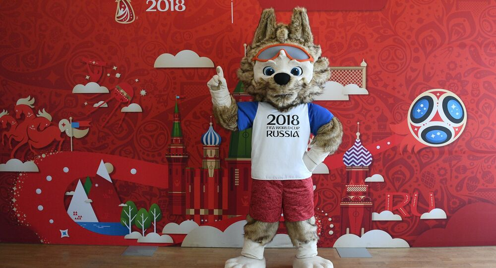 The official mascot of the 2018 FIFA World Cup Russia at the presentation of a program to train volunteers for the 2017 Confederations Cup Russia and the 2018 FIFA World Cup Russia, at Moscow's Russian State University of Social Sciences.