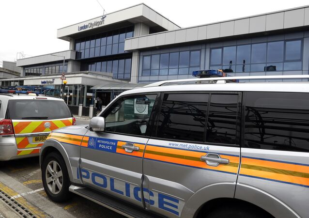 Police cars parked outside London City Airport (File)