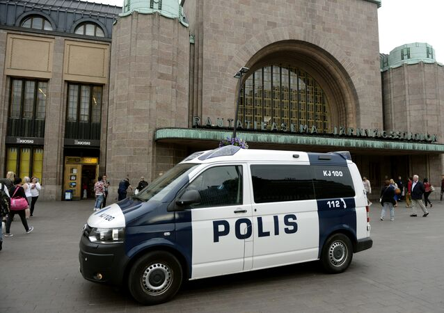 Finnish police patrol in front of the Central Railway Station, after stabbings in Turku, in Central Helsinki, Finland August 18, 2017