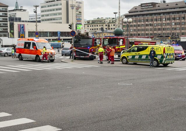 Rescue personnel cordon the place where several people were stabbed, at Turku Market Square, Finland August 18, 2017