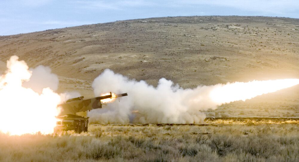 Members of the 17th Fires Brigade from Ft. Lewis fire two High Mobility Artillery Rocket System (HIMARS) rockets simultaneously in a training exercise at Yakima Training Center Nov. 1, 2007 in Yakima, Wash.