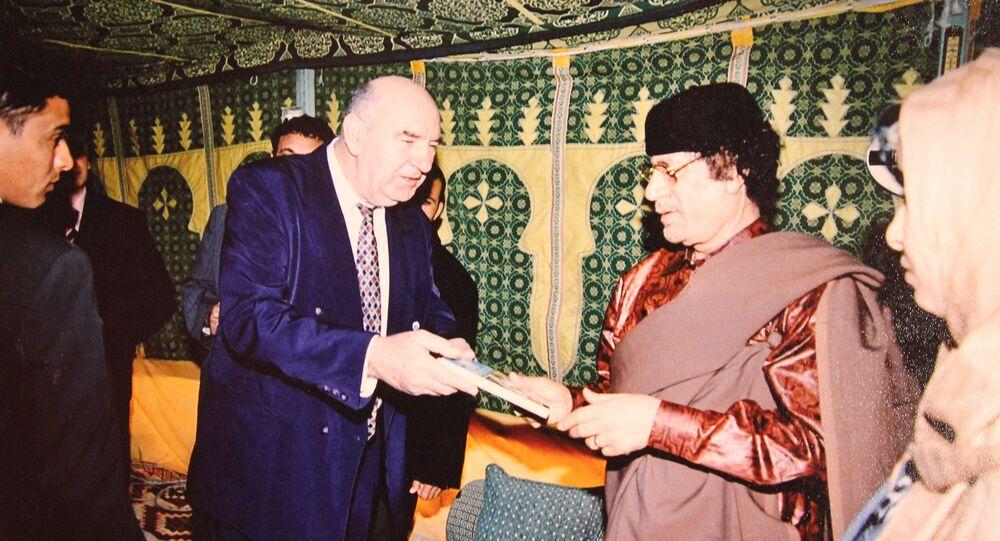 Professor Novak Vukoje and Libyan leader Muammar Gaddafi