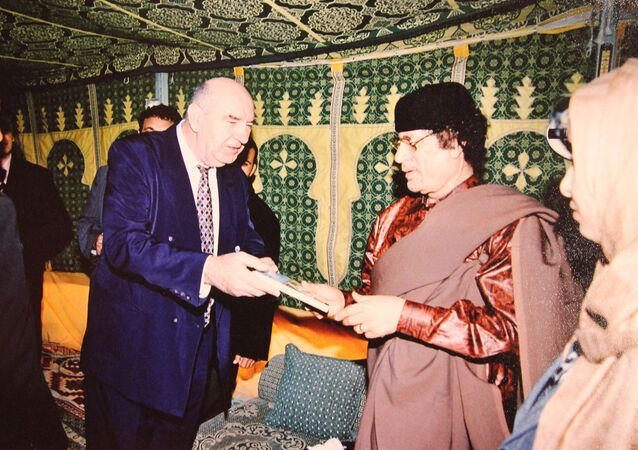 Professor Novak Vukoje and Libyan leader Muammar Gaddafi