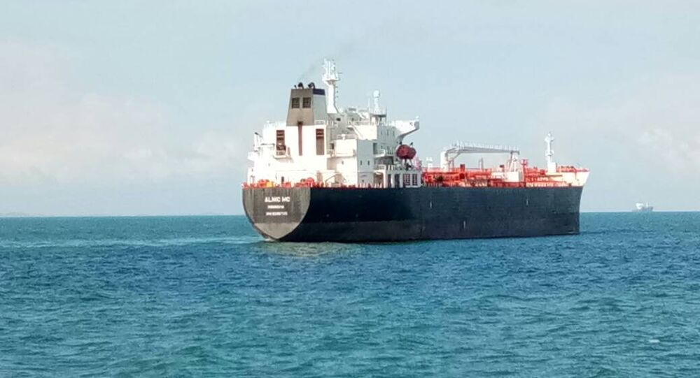 Merchant vessel Alnic MC is seen off Johor, Malaysia, in this handout August 21, 2017.
