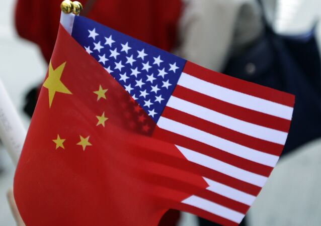 Chinese and US flags. (File)
