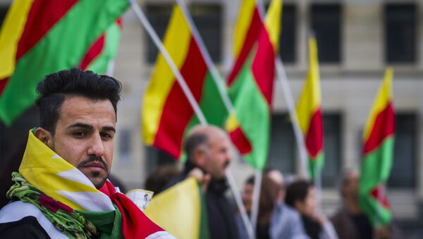 Supporters of the Kurdish group Popular Protection Unit (YPG)  in Berlin, file photo - Sputnik International