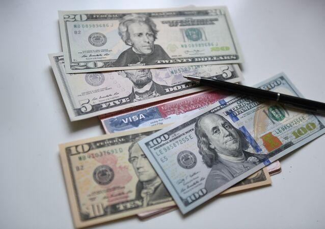 US banknotes and visa