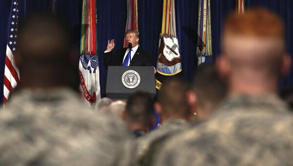 President Donald Trump speaks at Fort Myer in Arlington Va., Monday, Aug. 21, 2017, during a Presidential Address to the Nation about a strategy he believes will best position the U.S. to eventually declare victory in Afghanistan. - Sputnik International