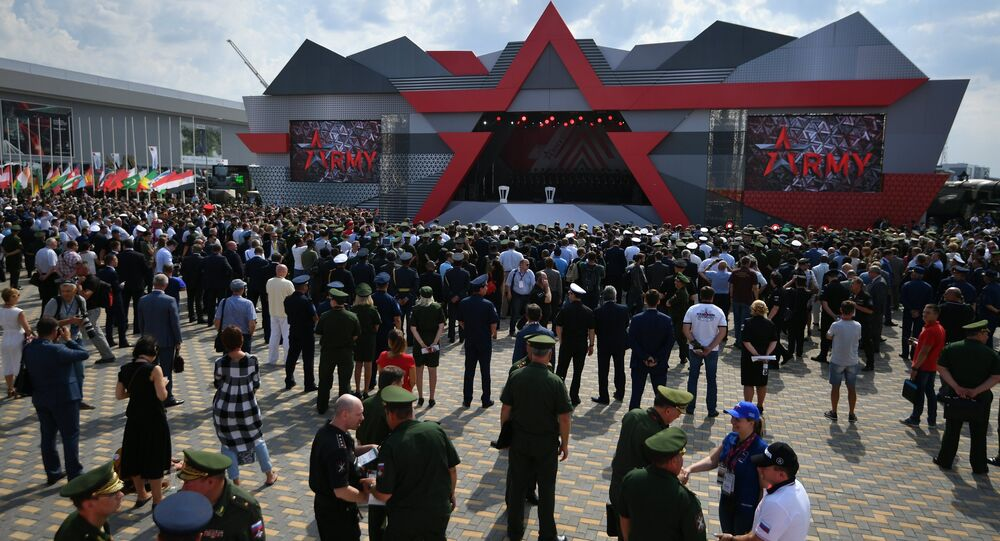 People during opening of the Army 2017 International Military-Technical Forum