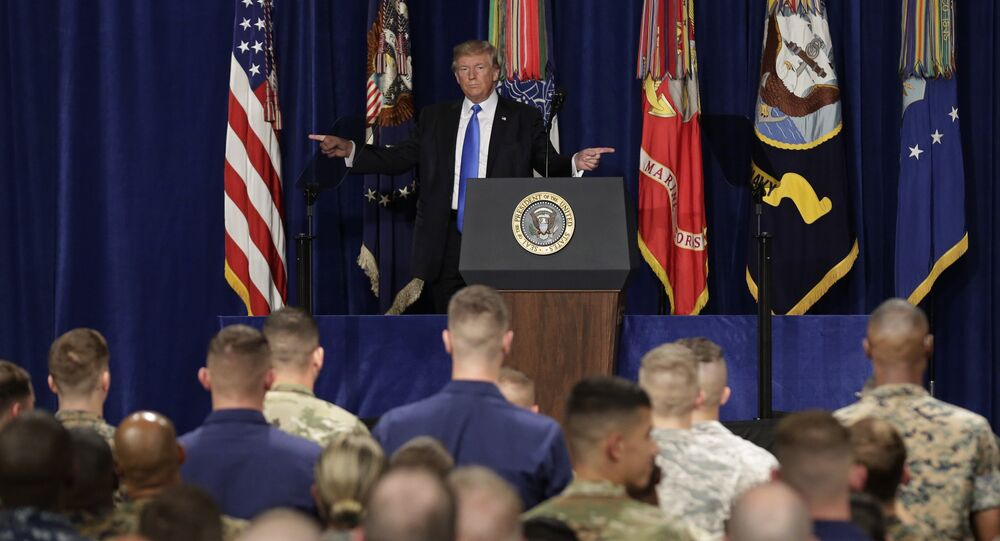 U.S. President Donald Trump gestures as he departs after announcing his strategy for the war in Afghanistan during an address to the nation from Fort Myer, Virginia, U.S., August 21, 2017