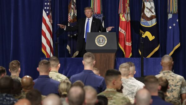 U.S. President Donald Trump gestures as he departs after announcing his strategy for the war in Afghanistan during an address to the nation from Fort Myer, Virginia, U.S., August 21, 2017 - Sputnik International