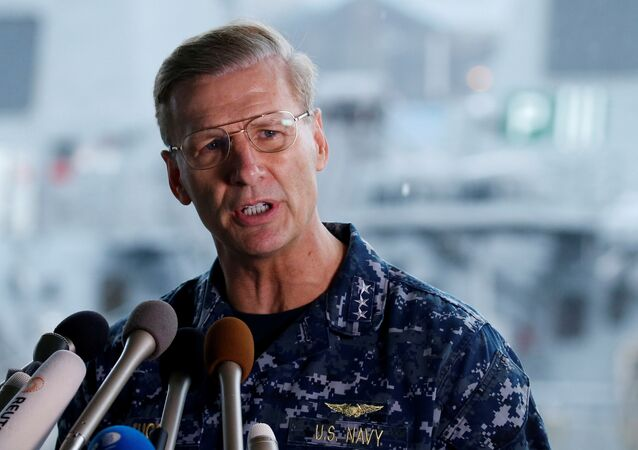 Vice Admiral Joseph Aucoin, U.S. 7th Fleet Commander, speaks to media on the status of the U.S. Navy destroyer USS Fitzgerald, damaged by colliding with a Philippine-flagged merchant vessel, and the seven missing Fitzgerald crew members, at the U.S. naval base in Yokosuka, south of Tokyo, Japan June 18, 2017
