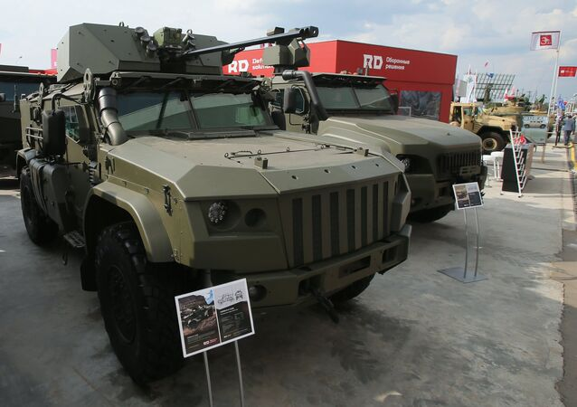 The Taifun K-4386 armored vehicle is presented at the Army 2017 International Military-Technical Forum, Moscow Region