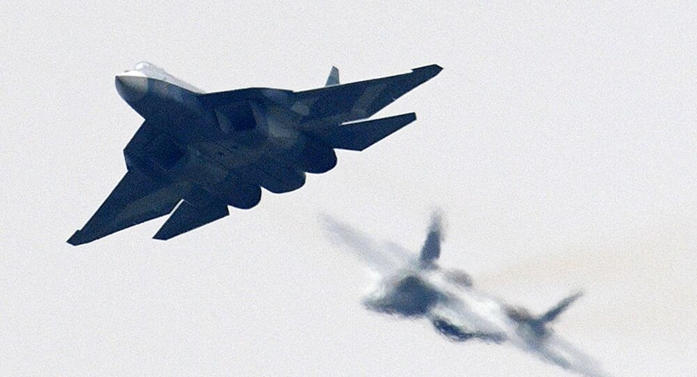 A Russian Su-57 multipurpose fighter jet of the fifth generation at the International Aviation and Space Salon MAKS-2017 in Zhukovsky