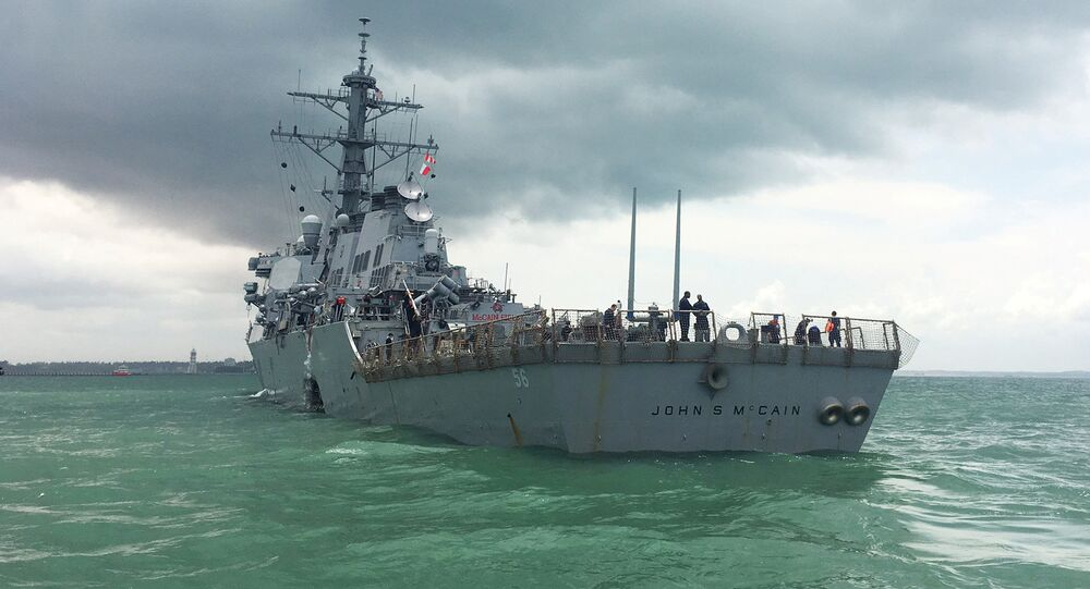 The US Navy guided-missile destroyer USS John S. McCain is seen after a collision, in Singapore waters August 21, 2017