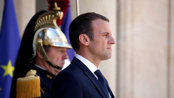 French President Emmanuel Macron stands on the steps of the Elysee Palace in Paris, France, June 16, 2017 - Sputnik International