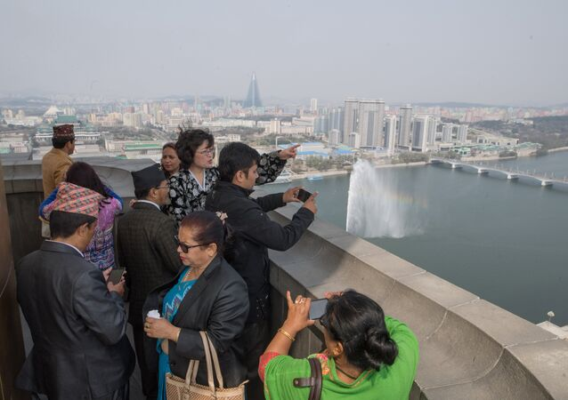 Tourists on the observation deck of the Juche Tower in Pyongyang